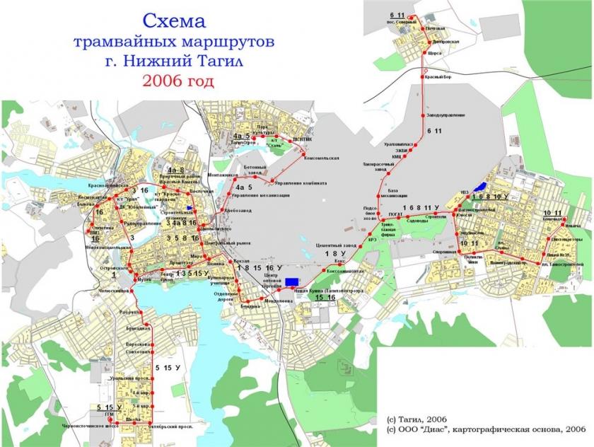 Схема трамвайных маршрутов - Нижний Тагил.