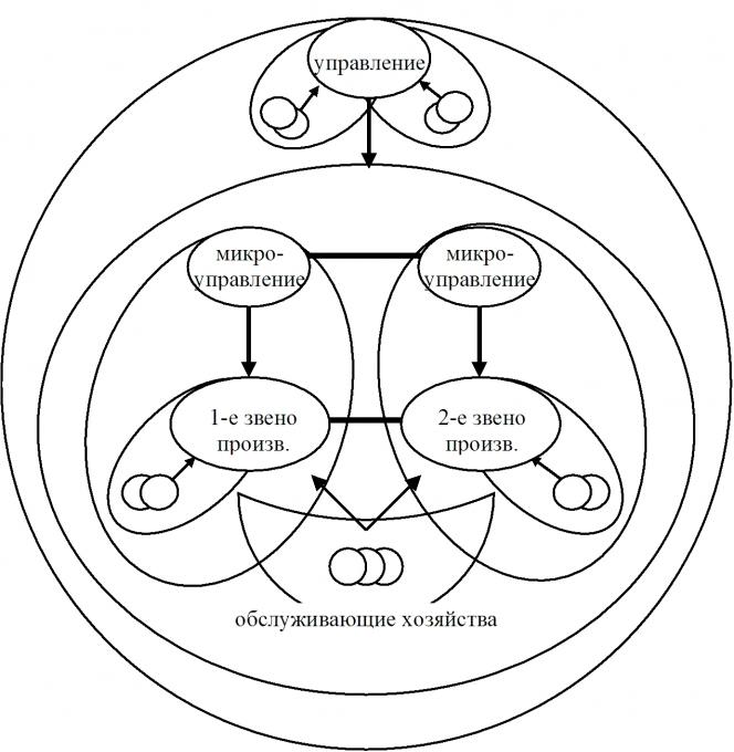 Рисунок 5. Функциональная схема предприятия с иерархией управления.  Для отнесения приведенной схемы к конкретному...